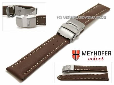 Watch strap -Milas- 20mm dark brown with titanium clasp light stitching by MEYHOFER (width of clasp 18 mm) - Bild vergrößern