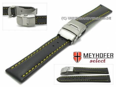 Watch strap -Milas- 18mm black with titanium clasp yellow stitching by MEYHOFER (width of clasp 18 mm) - Bild vergrößern