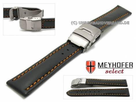 Watch strap -Milas- 20mm black with titanium clasp orange stitching by MEYHOFER (width of clasp 18 mm) - Bild vergrößern