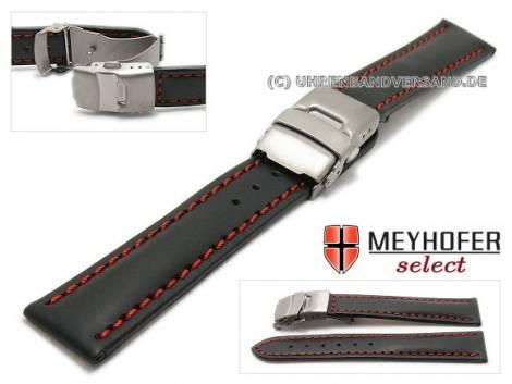 Watch strap -Milas- 20mm black with titanium clasp red stitching by MEYHOFER (width of clasp 18 mm) - Bild vergrößern