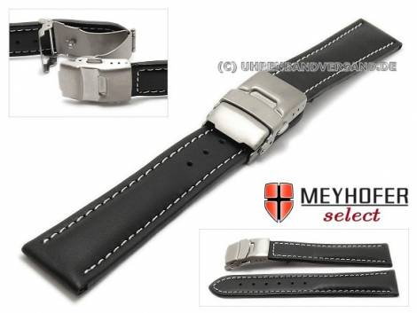 Watch strap -Milas- 20mm black with titanium clasp light stitching by MEYHOFER (width of clasp 18 mm) - Bild vergrößern