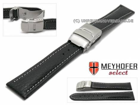 Watch strap -Drayton- 18mm black leather grained light stitching with clasp by MEYHOFER (width of clasp 18 mm) - Bild vergrößern