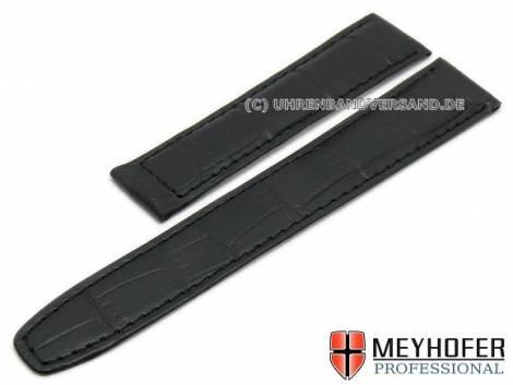 Watch strap -Limera- 18mm black leather alligator grain for Cartier clasp by MEYHOFER - Bild vergrößern
