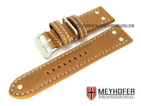Watch band -Eindhoven- 26mm light brown Aviator style smooth from MEYHOFER (width of buckle 24 mm) - Bild vergrößern