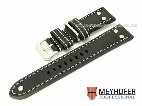 Watch band -Eindhoven- 22mm black Aviator style smooth from MEYHOFER (width of buckle 20 mm) - Bild vergrößern