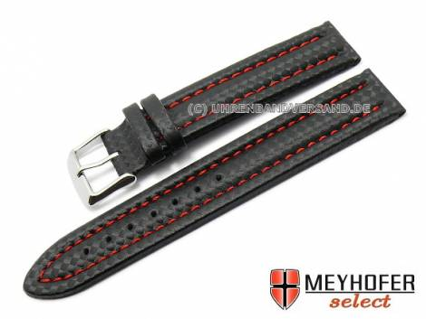 Watch band -Kandava- 24mm black carbon look red stitching by MEYHOFER (width of buckle 22 mm) - Bild vergrößern