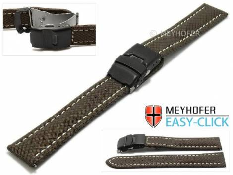 Watch strap Meyhofer EASY-CLICK -Huron- 24mm dark brown Textile look light stitching with clasp (width of clasp 22 mm) - Bild vergrößern