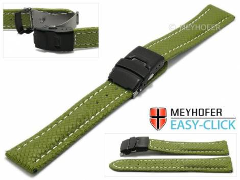Watch strap Meyhofer EASY-CLICK -Huron- 22mm olive green Textile look light stitching with clasp (width of clasp 20 mm) - Bild vergrößern
