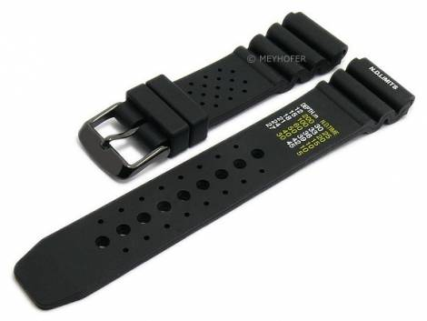 Watch strap -Frederikshaven- 18mm black silicone diver strap black buckle by MEYHOFER (width of buckle 18 mm) - Bild vergrößern