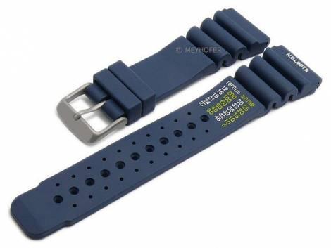 Watch strap -Wilhelmshaven- 20mm dark blue silicone titanium buckle diver strap by MEYHOFER (width of buckle 18 mm) - Bild vergrößern