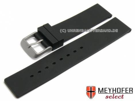 Watch strap -Lichtenfels- 16mm black silicone with titanium buckle by MEYHOFER (width of buckle 16 mm) - Bild vergrößern