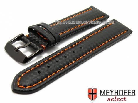 Watch strap -Sanary- 24mm black leather sporty carbon look orange stitching by MEYHOFER (width of buckle 22 mm) - Bild vergrößern