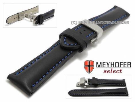 Watch strap -Antibes- 18mm black leather butterfly clasp brushed blue stitching by MEYHOFER (width of clasp 16 mm) - Bild vergrößern