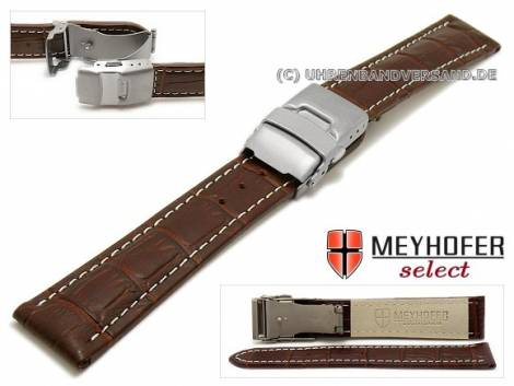 Watch strap -Bolea- 18mm dark brown alligator grain light stitching titanium clasp by MEYHOFER (width of clasp 18 mm) - Bild vergrößern