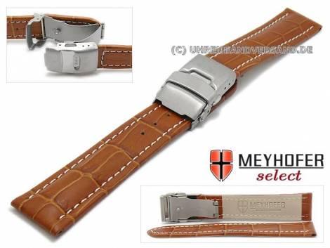 Watch strap -Bolea- 20mm light brown alligator grain light stitching titanium clasp by MEYHOFER (width of clasp 18 mm) - Bild vergrößern