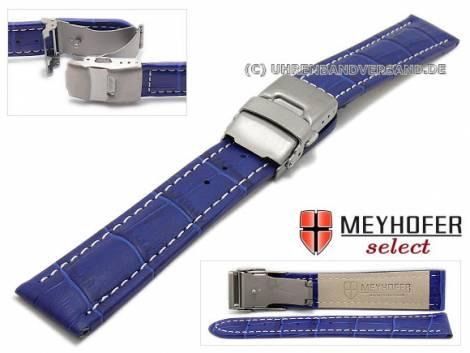 Watch strap -Bolea- 20mm blue alligator grain light stitching titanium clasp by MEYHOFER (width of clasp 18 mm) - Bild vergrößern