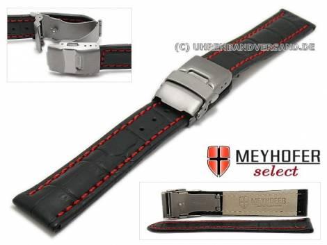 Watch strap -Bolea Special- 20mm black alligator grain red stitching titanium clasp by MEYHOFER (width of clasp 18 mm) - Bild vergrößern
