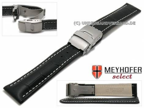 Watch strap -Bolea- 18mm black alligator grain light stitching titanium clasp by MEYHOFER (width of clasp 18 mm) - Bild vergrößern