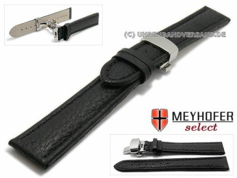 Watch strap XL -Aneby- 22mm black leather grained with butterfly clasp MEYHOFER (width of clasp 20 mm) - Bild vergrößern
