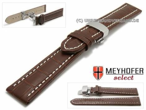 Watch strap XL -Treffurt- 18mm dark brown leather alligator grain with butterfly clasp MEYHOFER (width of clasp 18 mm) - Bild vergrößern