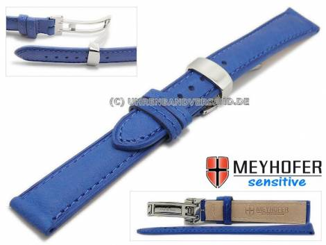 Watch strap -Amiens- 14mm blue calf leather grained with clasp by MEYHOFER (width of clasp 12 mm) - Bild vergrößern