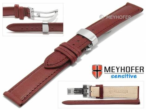 Watch strap -Amiens- 14mm bordeaux calf leather grained with clasp by MEYHOFER (width of clasp 12 mm) - Bild vergrößern
