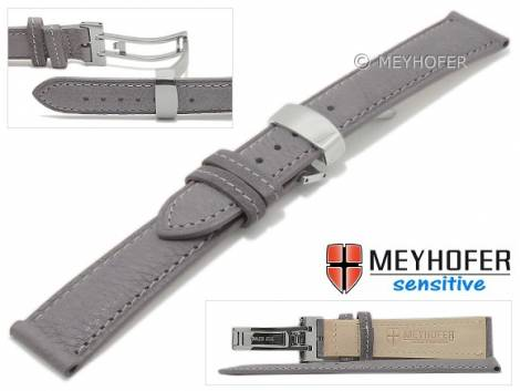 Watch strap -Amiens- 18mm grey calf leather grained with clasp by MEYHOFER (width of clasp 16 mm) - Bild vergrößern