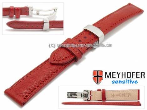 Watch strap -Amiens- 14mm red calf leather grained with clasp by MEYHOFER (width of clasp 12 mm) - Bild vergrößern