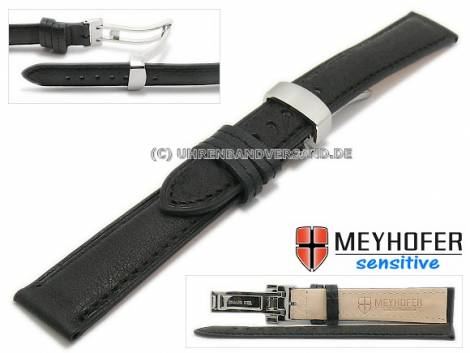 Watch strap -Amiens- 16mm black calf leather grained with clasp by MEYHOFER (width of clasp 14 mm) - Bild vergrößern