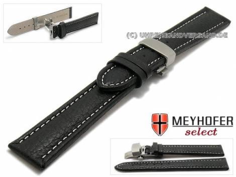 Watch strap XL -Castuera- 20mm black leather grained light stitching with clasp MEYHOFER (width of clasp 18 mm) - Bild vergrößern
