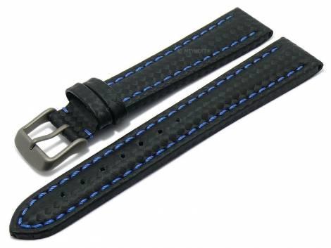 Watch strap -Edmonton- 24mm black with titanium buckle carbon look blue stitching by MEYHOFER (width of buckle 22 mm) - Bild vergrößern
