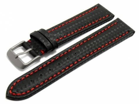 Watch strap -Edmonton- 20mm black with titanium buckle carbon look red stitching by MEYHOFER (width of buckle 18 mm) - Bild vergrößern