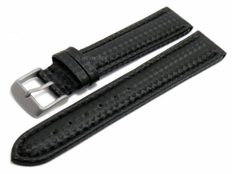 Watch strap -Edmonton Classic- 18mm black with titanium buckle carbon look stitched by MEYHOFER (width of buckle 18 mm) - Bild vergrößern