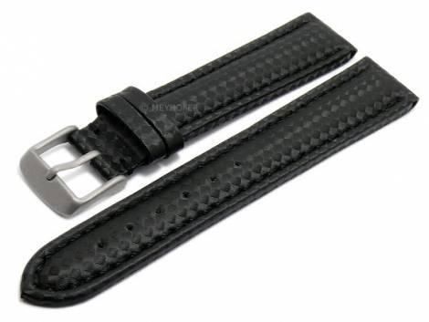 Watch strap -Edmonton Classic- 24mm black with titanium buckle carbon look stitched by MEYHOFER (width of buckle 22 mm) - Bild vergrößern