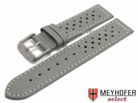 Watch strap -Richmond- 20mm grey leather titanium buckle racing look light stitching by MEYHOFER (width of buckle 20 mm) - Bild vergrößern