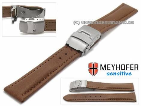 Watch strap -Stralsund- 18mm dark brown titanium clasp grained stitched by MEYHOFER (width of clasp 18 mm) - Bild vergrößern