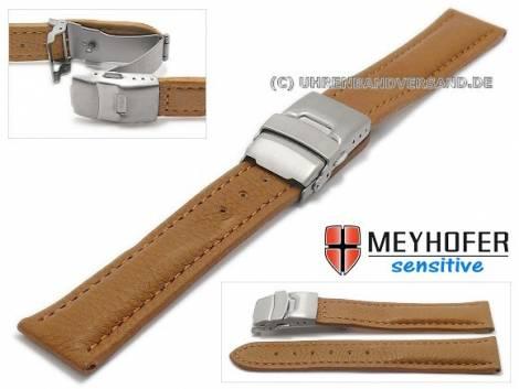Watch strap -Stralsund- 20mm light brown titanium clasp grained stitched by MEYHOFER (width of clasp 18 mm) - Bild vergrößern