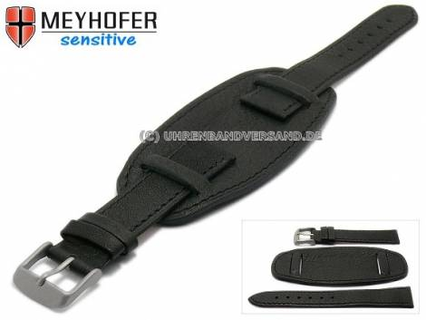 Watch strap -Karlstad- 24mm black leather grained stitched with leather pad by MEYHOFER (width of buckle 22 mm) - Bild vergrößern