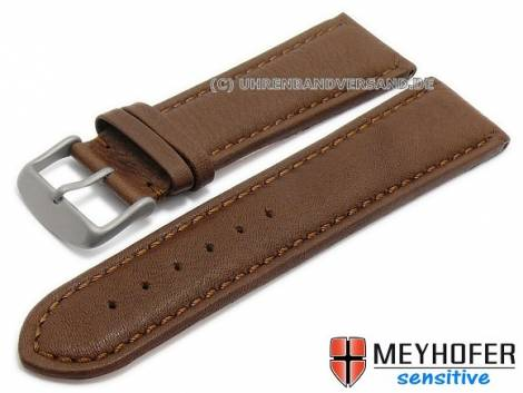 Watch strap -Leipzig- 26mm brown leather grained stitched with titanium buckle  by MEYHOFER (width of buckle 24 mm) - Bild vergrößern