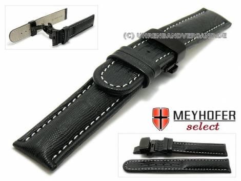 Watch strap -Avanos- 18mm black teju-grain light stitching butterfly clasp black MEYHOFER (width of clasp 18 mm) - Bild vergrößern