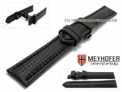 Watch strap -Nogaro Classic- 22mm black carbon look butterfly clasp black stitched by MEYHOFER (width of clasp 20 mm) - Bild vergrößern