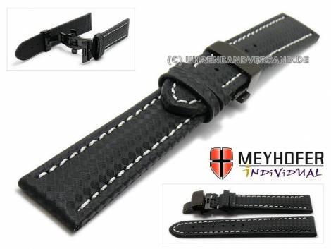 Watch strap -Nogaro- 24mm black carbon look butterfly clasp black light stitching by MEYHOFER (width of clasp 22 mm) - Bild vergrößern