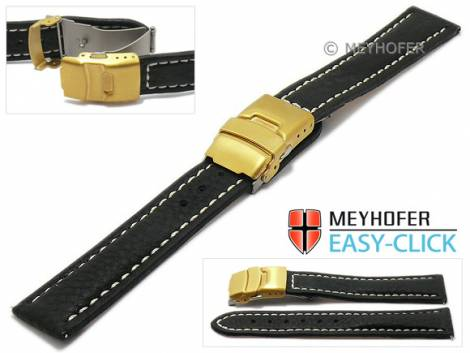 Watch strap Meyhofer EASY-CLICK -Yukon- 22mm black leather vegetable tanned light stitched clasp (width of clasp 20 mm) - Bild vergrößern
