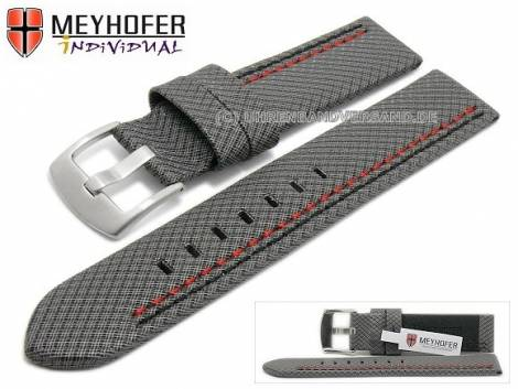 Watch strap -Oldenburg- 22mm grey synthetic textile look 2 coloured double stitching MEYHOFER (width of buckle 22 mm) - Bild vergrößern