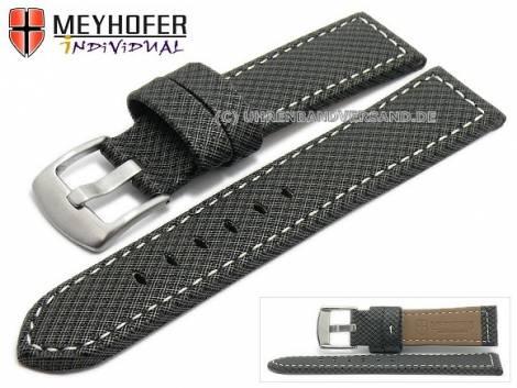 Watch strap -Riga- 22mm black synthetic textile look light stitching by MEYHOFER (width of buckle 20 mm) - Bild vergrößern