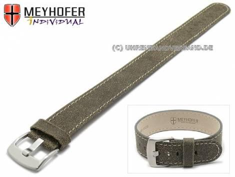 Watch strap -Vilsbiburg- 24mm antique-black leather antique look light stitching by MEYHOFER (width of buckle 24 mm) - Bild vergrößern