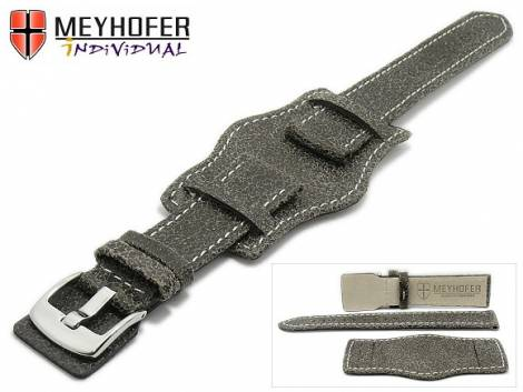 Watch strap -Tegel Classic- 22mm antique black leather antique look with leather pad MEYHOFER (width of buckle 20 mm) - Bild vergrößern