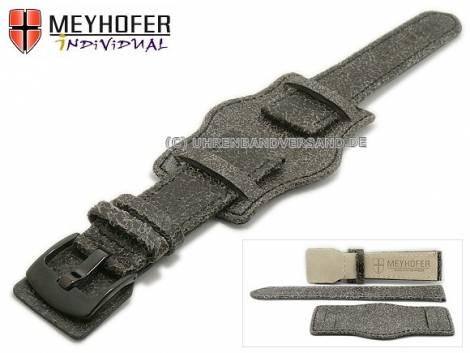 Watch strap -Tegel- 22mm antique black antique look leather pad black buckle by MEYHOFER (width of buckle 20 mm) - Bild vergrößern