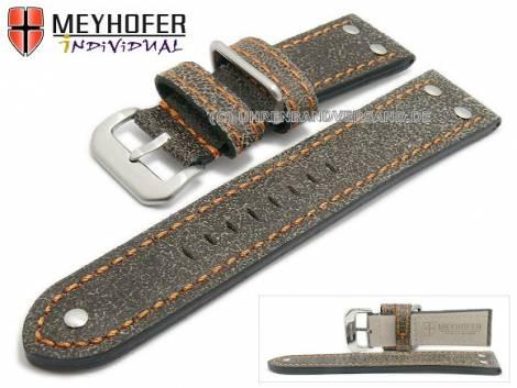 Watch strap -Ansbach- 22mm antique-black leather aviator look orange stitching by MEYHOFER (width of buckle 20 mm) - Bild vergrößern