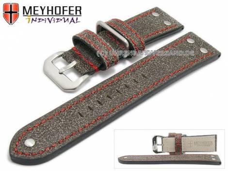 Watch strap -Ansbach- 26mm antique-black leather aviator look red stitching by MEYHOFER (width of buckle 24 mm) - Bild vergrößern